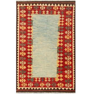 Herat Oriental Afghan Hand-woven Tribal Kilim Red/ Light Blue Wool Rug (4'1 x 6'3)