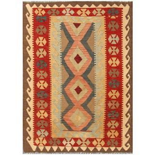 Herat Oriental Afghan Hand-woven Tribal Kilim Red/ Brown Wool Rug (4'5 x 6'4)