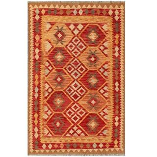 Herat Oriental Afghan Hand-woven Tribal Wool Kilim (4'2 x 6'4)