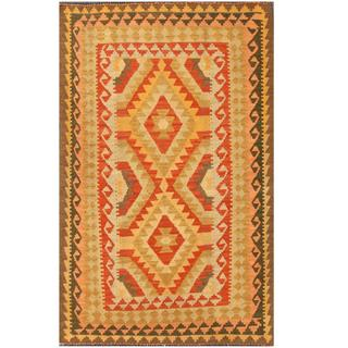 Herat Oriental Afghan Hand-woven Tribal Kilim Salmon/ Ivory Wool Rug (4' x 6'3)