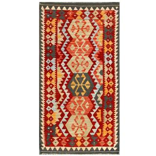 Herat Oriental Afghan Hand-woven Tribal Kilim Red/ Grey Wool Rug (3'2 x 5'11)