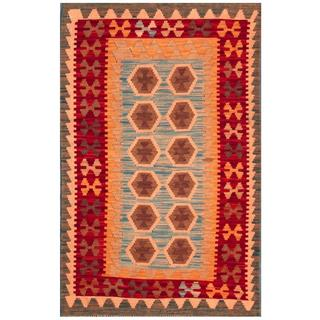Herat Oriental Afghan Hand-woven Tribal Kilim Peach/ Blue Wool Rug (3'1 x 4'11)