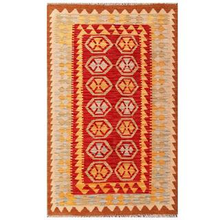 Herat Oriental Afghan Hand-woven Tribal Kilim Red/ Tan Wool Rug (3'1 x 5')
