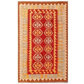 Handmade One-of-a-Kind Wool Kilim (Afghanistan) - 3'1 x 5'