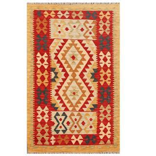 Herat Oriental Afghan Hand-woven Tribal Wool Kilim (3'1 x 5')