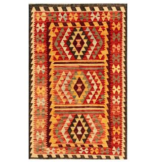 Herat Oriental Afghan Hand-woven Tribal Kilim Red/ Gold Wool Rug (3'1 x 4'11)