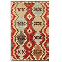 Herat Oriental Afghan Hand-woven Tribal Wool Kilim (3'3 x 5'1)