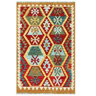 Herat Oriental Afghan Hand-woven Tribal Kilim Red/ Gold Wool Rug (3'3 x 5'2)