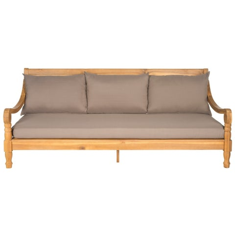 Safavieh Outdoor Living Pasadena Brown /Taupe Acacia Wood Cushioned Daybed