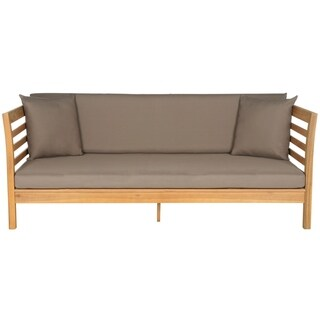 Safavieh Outdoor Living Malibu Brown/ Taupe Acacia Wood Cushioned Daybed