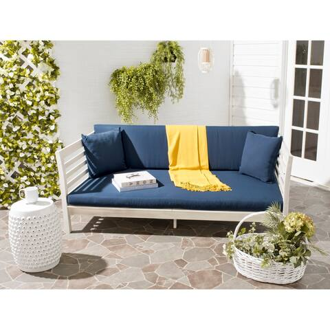 Safavieh Outdoor Living Malibu Antiqued White/ Navy Acacia Wood Cushioned Daybed