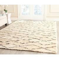 Safavieh Hand-Tufted Casablanca White/ Brown New Zealand Wool Rug - 5' X 8'