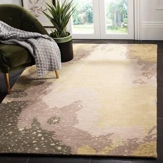 Safavieh Handmade Soho Modern Abstract Sage/ Grey Wool Rug - 7'6 x 9'6