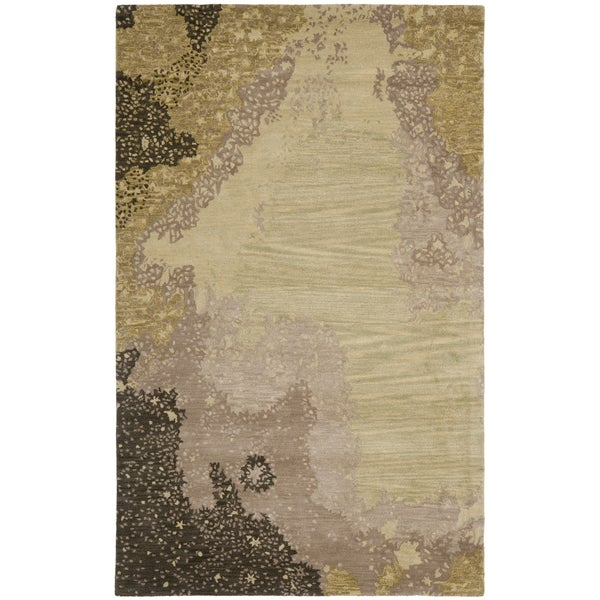 Safavieh Handmade Soho Modern Abstract Sage/ Grey Wool Rug - 7'6 x 9'6