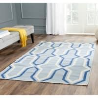 Safavieh Hand-woven Reversible Dhurries Light Blue/ Dark Blue Wool Rug - 5' x 8'