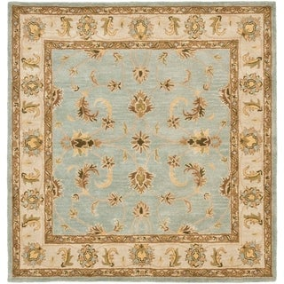 Safavieh Handmade Heritage Timeless Traditional Light Blue/ Beige Wool Rug (10' Square)