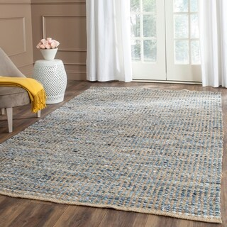 Safavieh Cape Cod Handmade Natural / Blue Jute Natural Fiber Rug (2' x 3')