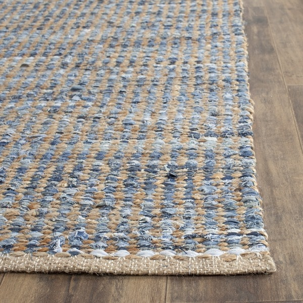 Safavieh Hand-Woven Cape Cod Stripe Natural/ Blue Jute Rug - 2' X 3'