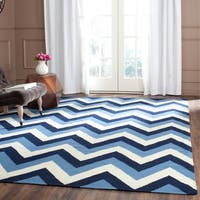 Safavieh Hand-woven Reversible Dhurries Navy/ Light Blue Wool Rug - 5' x 8'
