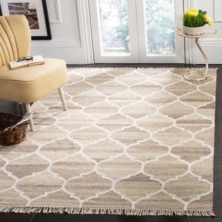 Safavieh Hand-Woven Natural Kilim Light Grey/ Ivory Wool Rug (10' x 14')