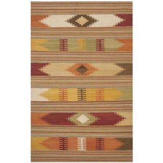 Safavieh Hand-Woven Kilim Red/ Multi Wool Rug (10' x 14')