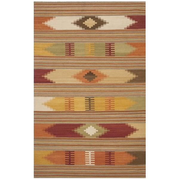 Safavieh Hand-Woven Kilim Red/ Multi Wool Rug - 10' x 14'