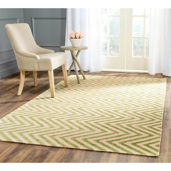 Safavieh Hand-Knotted Stone Wash Sage Wool/ Cotton Rug (8' x 10')