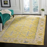 Safavieh Hand-Knotted Stone Wash Yellow Wool/ Cotton Rug - 8' x 10'