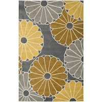 Safavieh Hand-Tufted Soho Grey/ Yellow Wool/ Viscose Rug - 5' x 8'