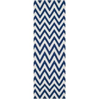 Safavieh Hand-woven Reversible Dhurries Dark Blue/ Ivory Wool Rug (2'6 x 6')