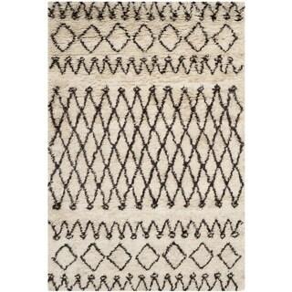 Safavieh Hand-tufted Casablanca Ivory/ Dark Brown New Zealand Wool Rug (3' x 5')