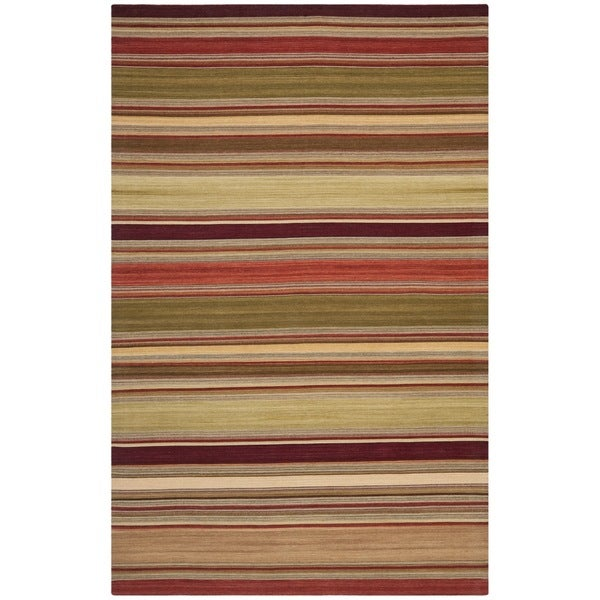 Safavieh Hand-Woven Striped Kilim Red Wool Rug (10' x 14')