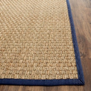 Safavieh Casual Natural Fiber Natural and Blue Border Seagrass Rug (2' x 3')