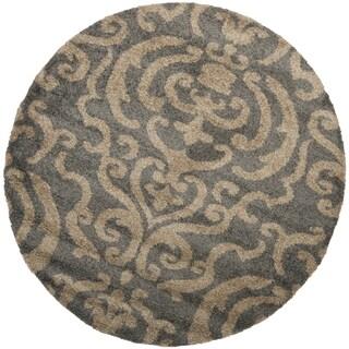 Safavieh Florida Ornate Grey/ Beige Shag Rug (4' Round)
