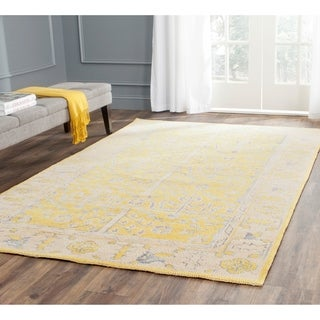 Safavieh Hand-Knotted Stone Wash Yellow Wool/ Cotton Rug (5' x 8')
