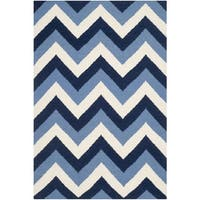 Safavieh Hand-woven Reversible Dhurries Navy/ Light Blue Wool Rug - 3' x 5'