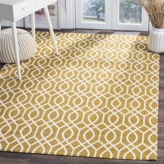 Safavieh Handmade Cedar Brook Citron/ Ivory Cotton Rug (8' x 11')