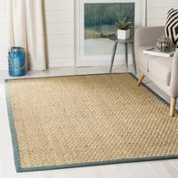 Safavieh Casual Natural Fiber Natural and Light Blue Border Seagrass Rug - 3' x 5'