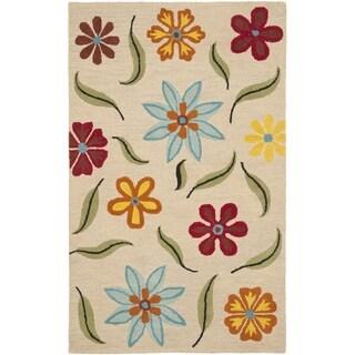 Safavieh Hand-Tufted Blossom Beige/ Multi Wool Rug (7'6 x 9'6)