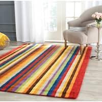 Safavieh Handmade Himalaya Red/ Multicolored Stripe Wool Gabbeh Rug - 4' x 4' Square