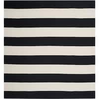 Safavieh Montauk Handmade Caspian Flatweave Black/ Ivory Stripe Cotton Rug - 4' Square