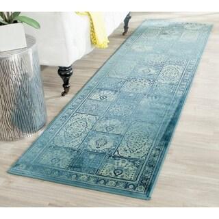Safavieh Vintage Turquoise/ Multi Distressed Panels Silky Viscose Rug (2'2 x 10')