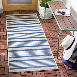 Safavieh Courtyard Stripe Navy/ Beige Indoor/ Outdoor Rug (2'3 x 8')
