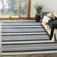 Safavieh Courtyard Stripe Navy/ Beige Indoor/ Outdoor Rug - 9' x 12'