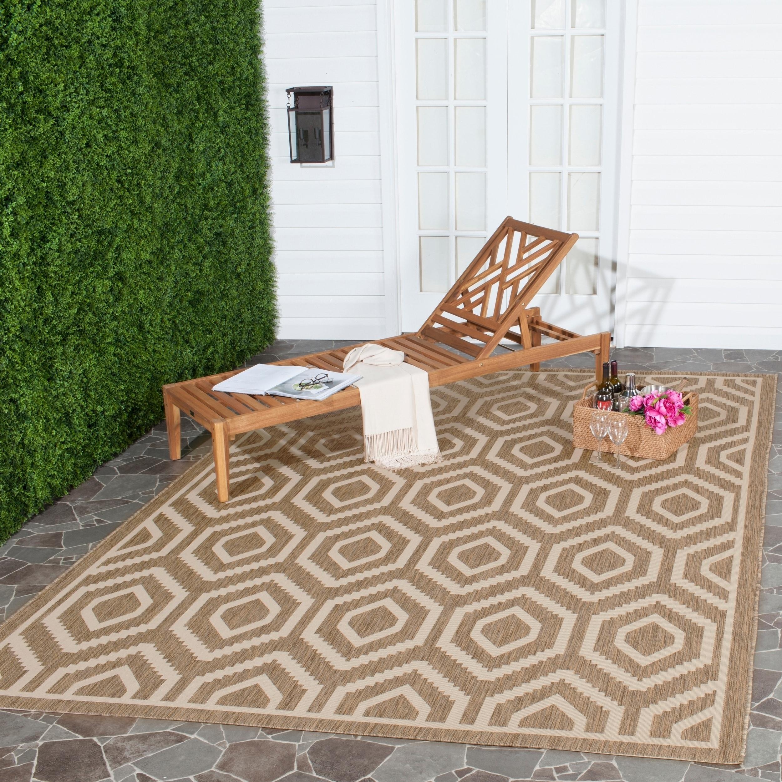 Safavieh Indoor/ Outdoor Courtyard Brown/ Bone Rug (9 X 12)