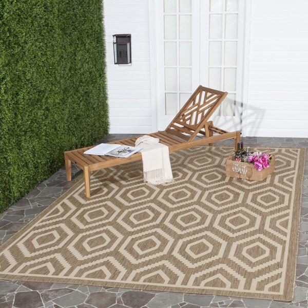 Safavieh Courtyard Honeycomb Brown/ Bone Indoor/ Outdoor Rug (9' x 12')