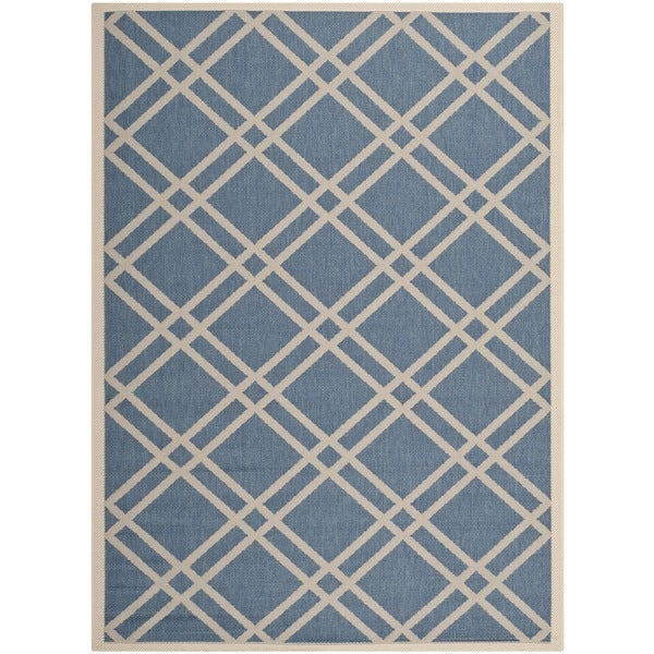 Safavieh Indoor/ Outdoor Courtyard Blue/ Beige Rug - 9' x 12'