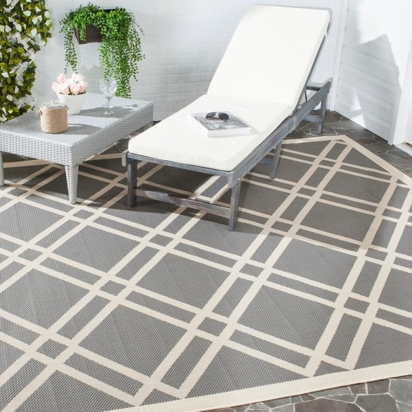 Safavieh Indoor/ Outdoor Courtyard Anthracite/ Beige Rug - 9' x 12'