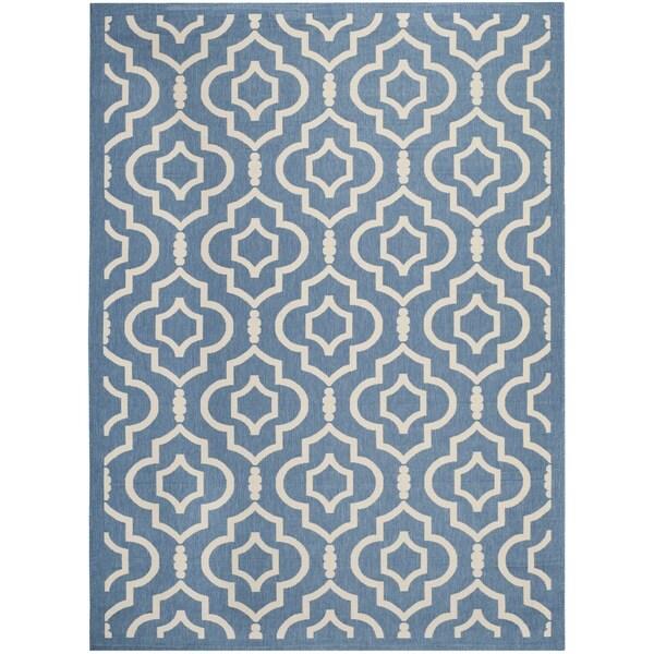Safavieh Indoor/ Outdoor Courtyard Blue/ Beige Rug (9' x 12')