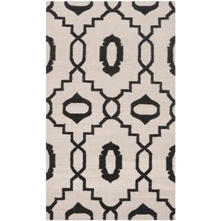 Safavieh Handmade Flatweave Dhurries Lori Modern Wool Rug (3 x 5 - Ivory/Black)